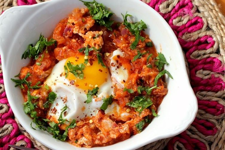 Shakshouka with a touch of cilantro and Garam Masala