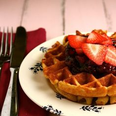 Cornmeal Waffles with Balsamic Strawberry Sauce