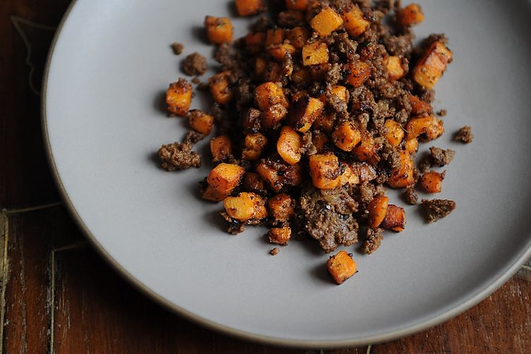 Merguez and Sweet Potato Hash