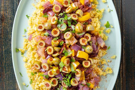 Saffron Cauliflower Rice with Rainbow Vegetables