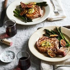 Grilled Pork Chops with Figs, Asparagus, and Dijon-Chive Butter