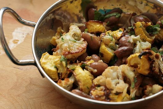Squash and Cauliflower Salad with Cranberry Beans and Salsa Verde