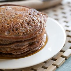 Rich Blue Cornmeal and Applesauce Pancakes