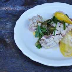 Tuna with Mint Oil and Pepperonata