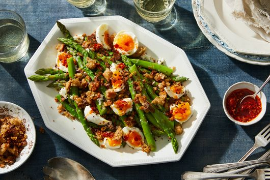 Asparagus With Soft-Boiled Eggs & Anchovy Bread Crumbs