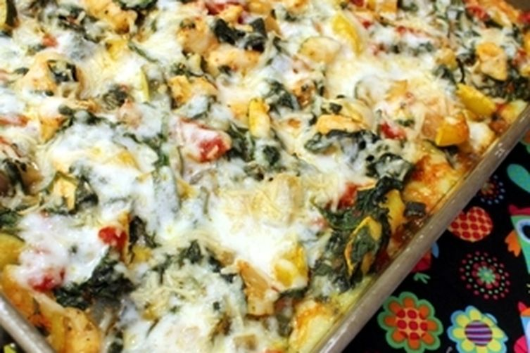 Creamy Squash, Spinach, and Chicken Polenta Casserole
