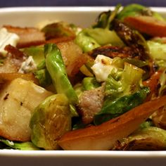 Pan Roased Brussels Sprouts with Bacon, Pears, Gorgonzola and Crispy Pumpkin Seeds