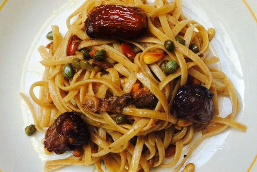 Dates, Capers, and Anchovy Pasta