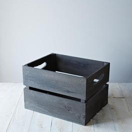 Large Replica Apple Crate with Handles, Gray Wash