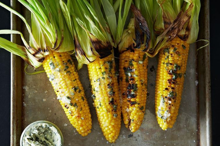 Grilled Corn with Basil Butter from Food52