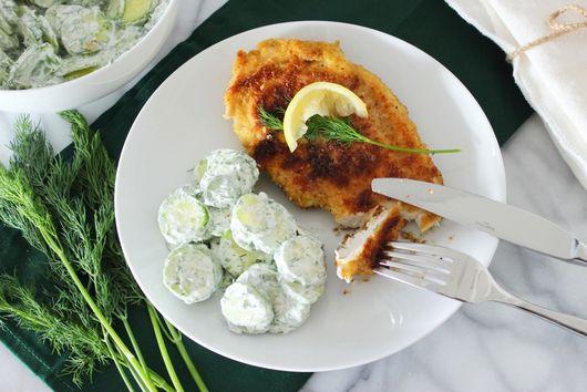 Schnitzel with German Cucumber Salad
