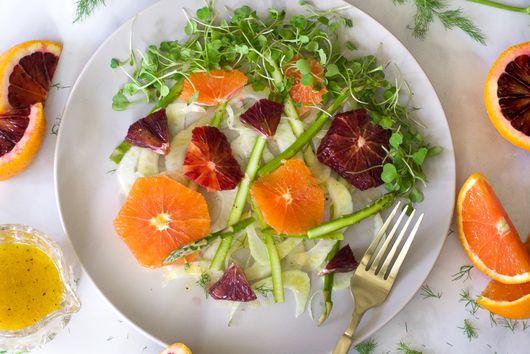 Shaved Fennel, Asparagus, And Citrus Salad With Cara Cara Vinaigrette