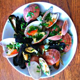 Mussels and clams with mustard sauce.