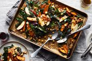 Roasted Sweet Potato, Chickpea, and Kale Sheet Pan Salad