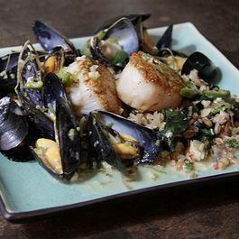 Coconut Mussels and Scallops on Gingered Farro with Kale