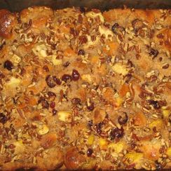 Peach, Apple and Cranberry Bread Pudding