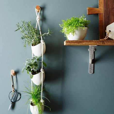3-Tier Ceramic and Leather Hanging Planter