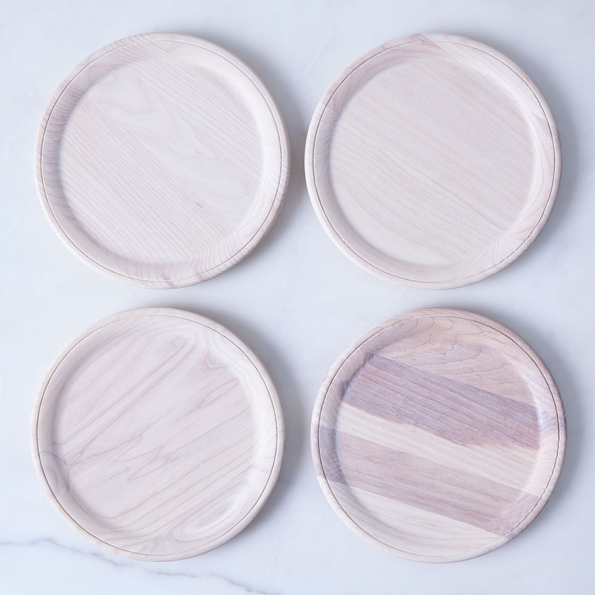 Crafted Wooden Plates Set Of 4, White