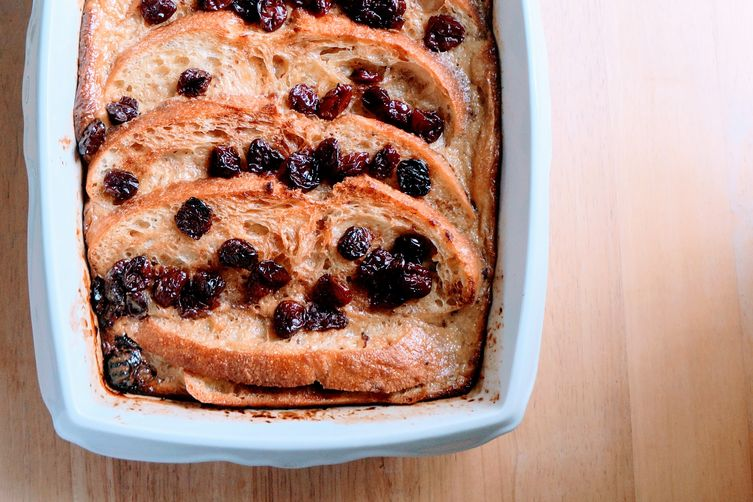 Rum Raisin Bread Pudding with Salted Caramel Sauce