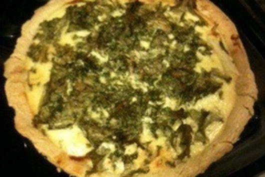 Caramelized Fennel, Goat Cheese & Mustard Green Tart