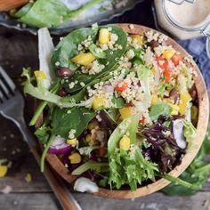 Quinoa Black Bean Summer Salad with Tahini Dressing