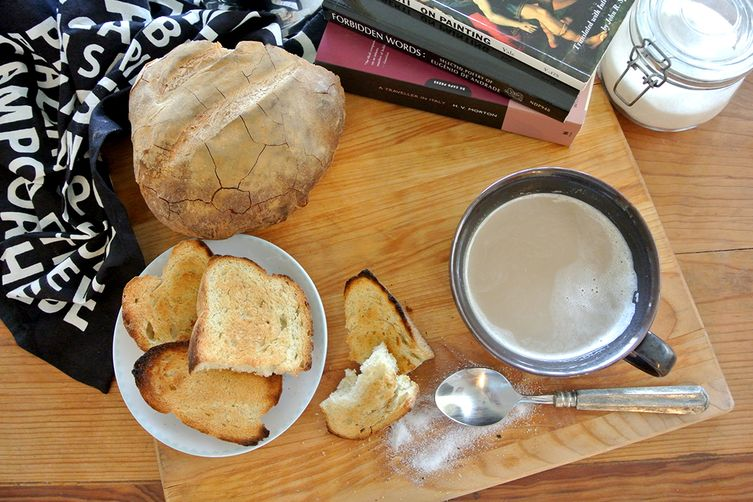 cafe espresso with heated milk & toasted rustic italian bread (pane d' altamura)