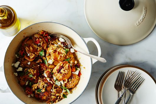Chicken Thighs with Tomato, Orzo, Olives, and Feta