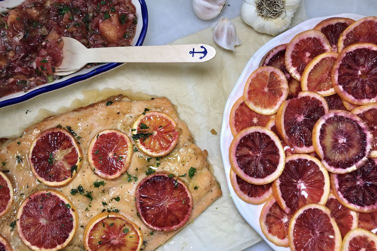 Blood Orange Salmon with a Citrus Salsa