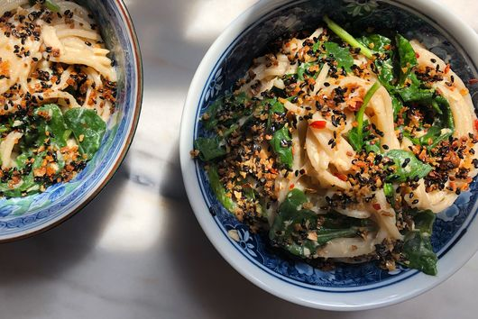 Miso-Ginger Noodles With Tuna & Spicy Sesame Crumbs