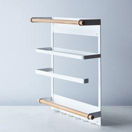 Steel & Wood Magnetic Refrigerator Rack