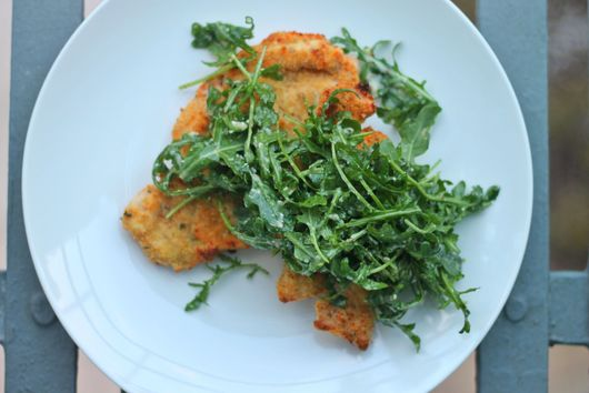Parmesan Chicken Milanese with Creamy Parmesan Tossed Arugula