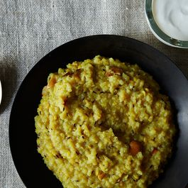 Savory 'Venn Pongal' (South Indian Style Rice & Mung Bean Risotto)