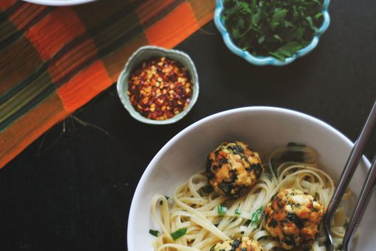 Kale + Tofu Balls with Pasta