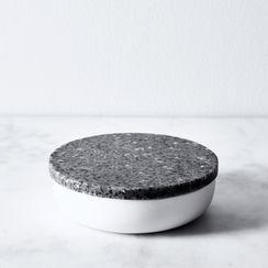 Corian & Stoneware Salt Cellar