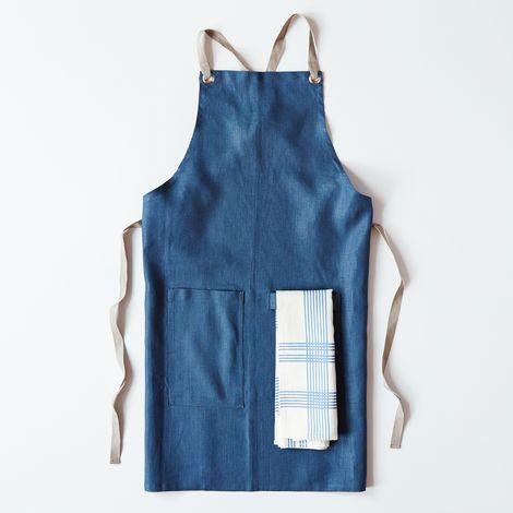 Slate-Blue Cross-Back Kitchen Apron with Slate Ties + 52 Stripes Tea Towel Set
