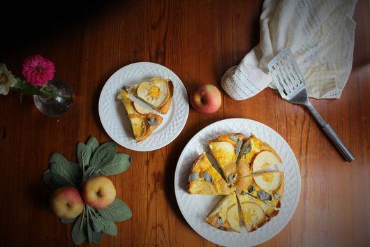 Apple, sweet potato and sage frittata