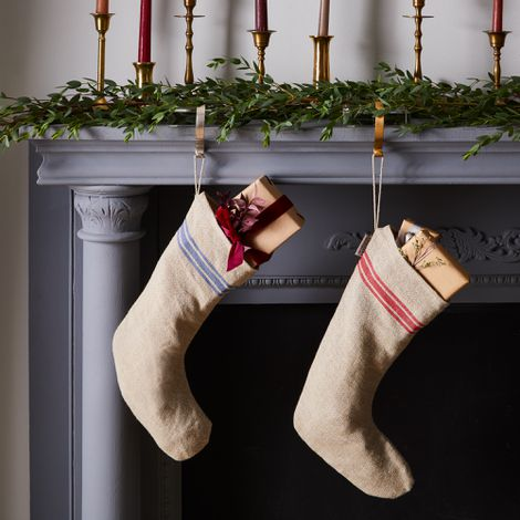 Vintage-Inspired French Grain Sack Striped Linen Stockings