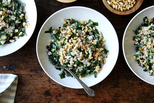 Farro with Greens, Tahini Sauce, and Toasted Pine Nuts