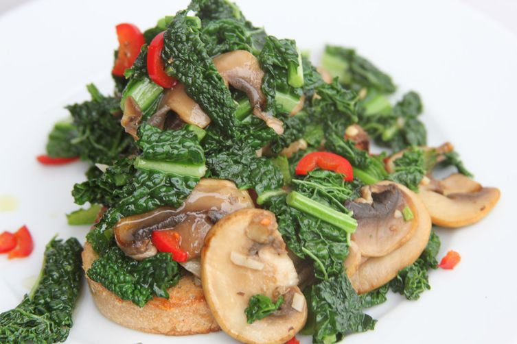 Kale, Mushrooms and Chilli on Sourdough Toast