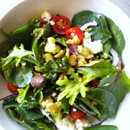 Baby Greens Greek Salad with Anchovy Crumbs