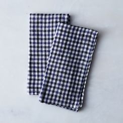 Gingham Navy & Black Linen Napkins (Set of 2)