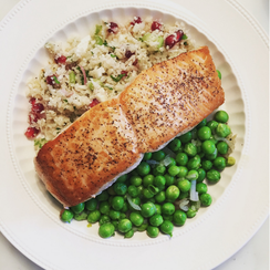 Salmon with Cauliflower Tabouleh