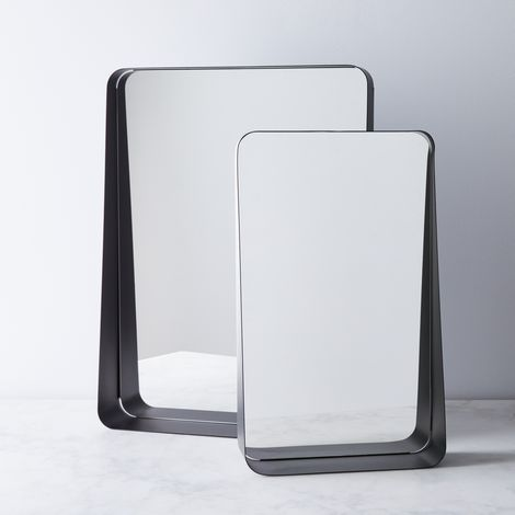 Modern Black Wall Mirror with Shelf