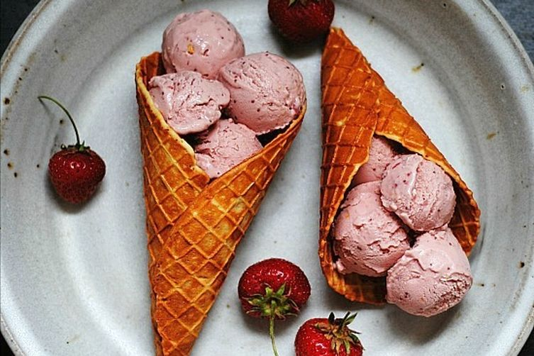 Intense Strawberry Coconut Ice Cream + Almond Waffle Cone