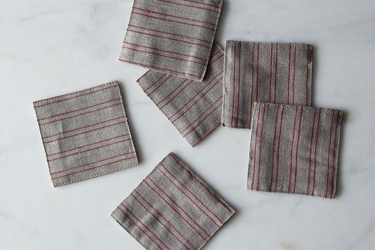 Natural Red Stripe Fog Linen Coasters, Set of 6