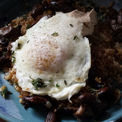 Farro with Eggs and Mushrooms