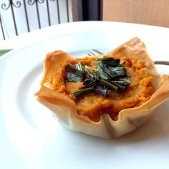 Kabocha Squash, Sweet Potato and Scallion Filo Cups