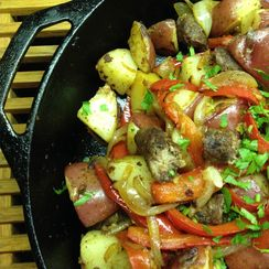 Bliss Potatoes with Sausage, Peppers, and Eggs