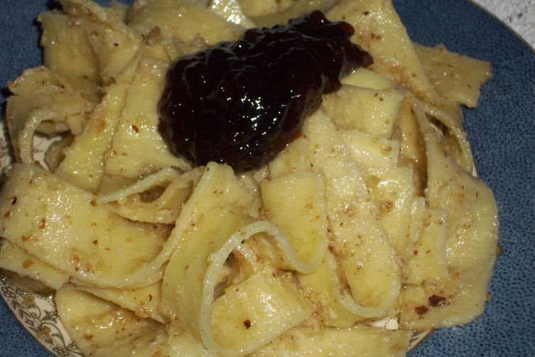 Noodles with walnuts and plum jam‏  ( Rezanci s orahi )