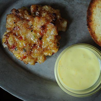 Shrimp Burgers with Roasted Garlic-Orange Aioli